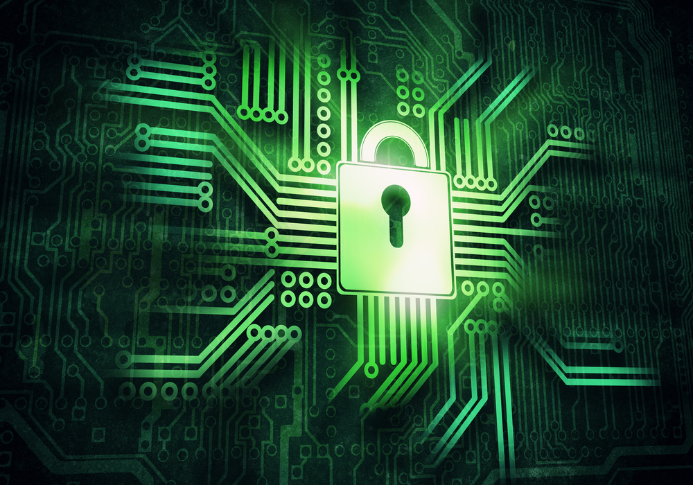 Conceptual digital image of lock on circuit background-1